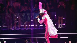 US rapper Lil Nas X performs on stage during the 2021 MTV Video Music Awards at Barclays Center in Brooklyn, New York