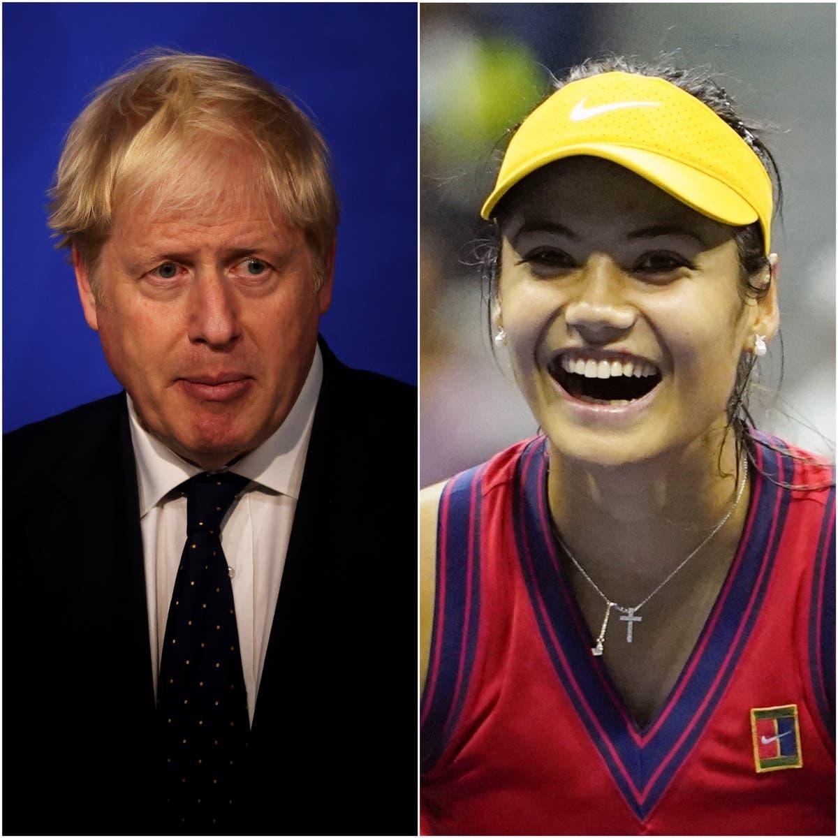 Boris Johnson talks with Emma Raducanu and discusses growth of grassroots tennis