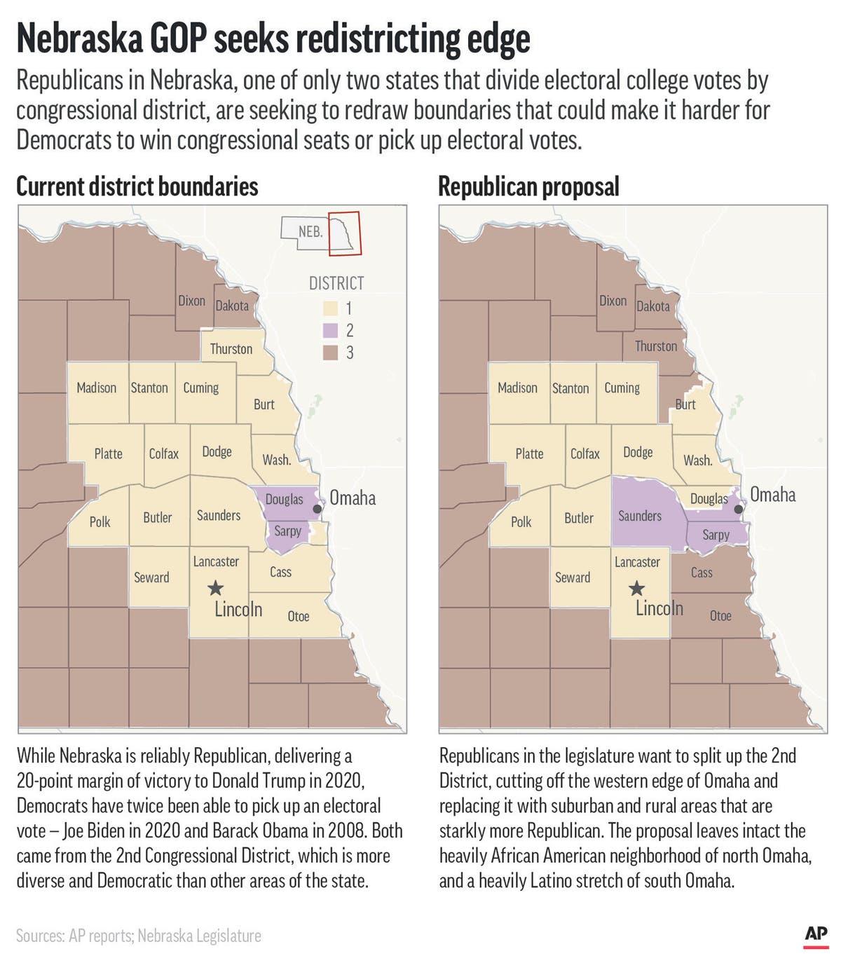 一进 538: 地图引发内布拉斯加州选举投票的斗争