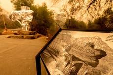 カリフォルニア国立公園は、記録的な山火事の中で古代の木々をホイルで包みます