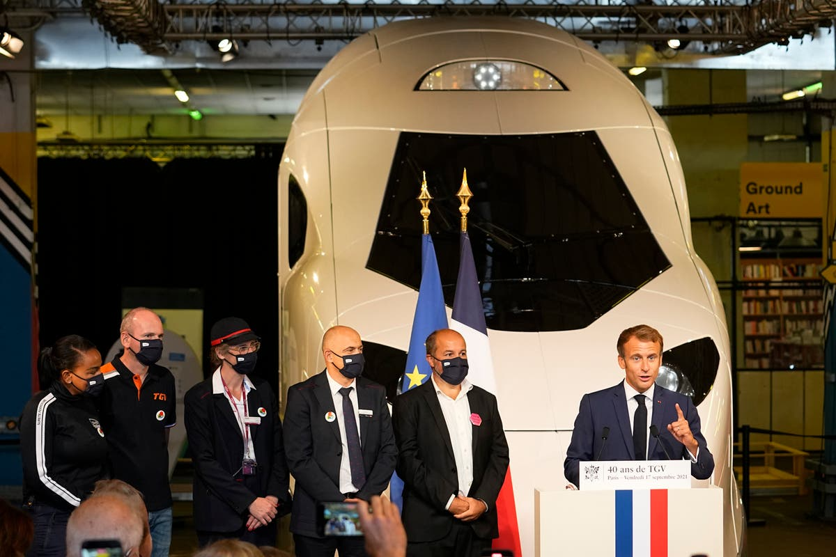 France's Macron unveils model of new, green high-speed train
