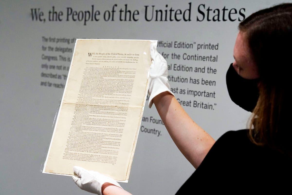 Cópia rara da Constituição dos Estados Unidos será leiloada em Nova York