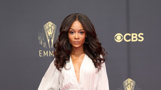 Zuri Hall wears a Rani Zakhem Couture jumpsuit at the 2021 Emmy Awards