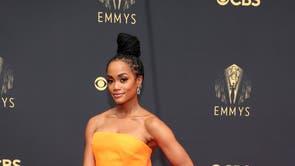 Rachel Lindsay wears Christopher John Rogers at the 2021 Emmy Awards