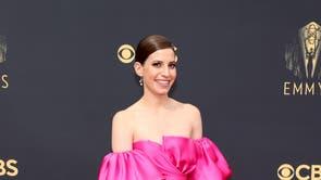 Eliana Kwartler wears a pink J Mendel gown