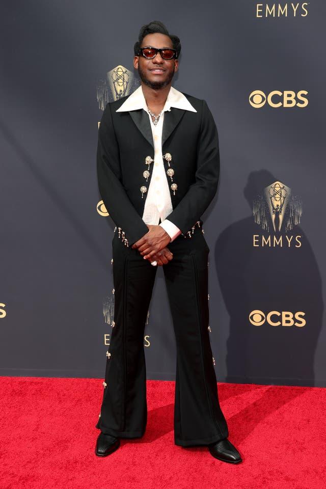 Leon Bridges in a flared trouser suit
