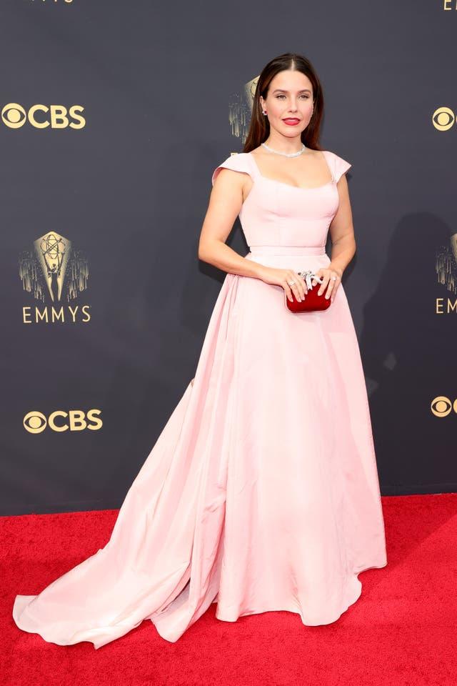 Sophia Bush wears a floor-length Markarian gown