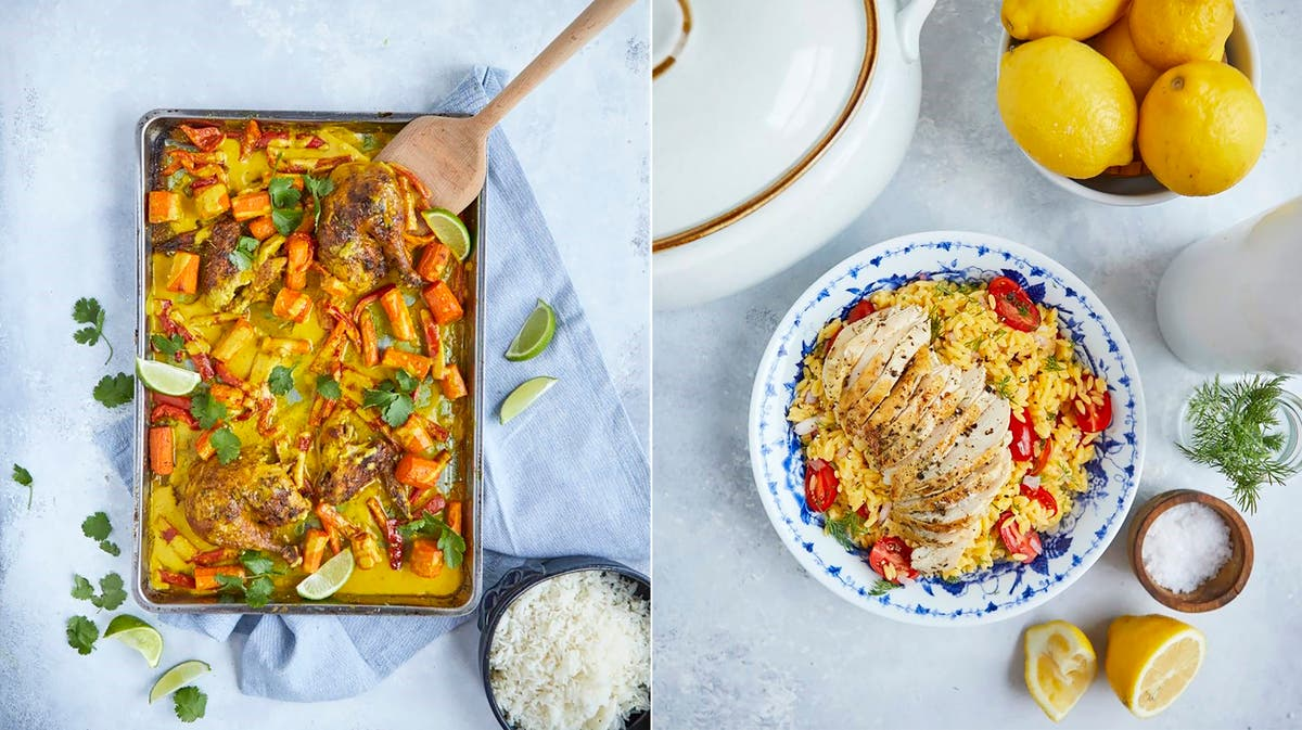 Roast chicken with herbs leads to a curried chicken dish