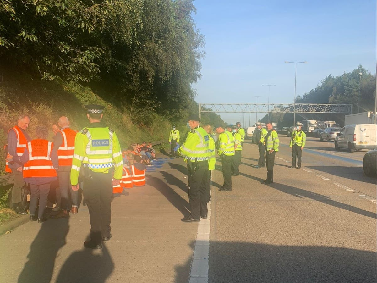 M25 climate protesters dragged off motorway by police