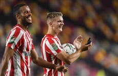 Brentford striker Marcus Forss seeks more minutes after netting four in Carabao Cup win