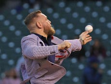 Conor McGregor reacts to horrendous first pitch at Chicago Cubs baseball game