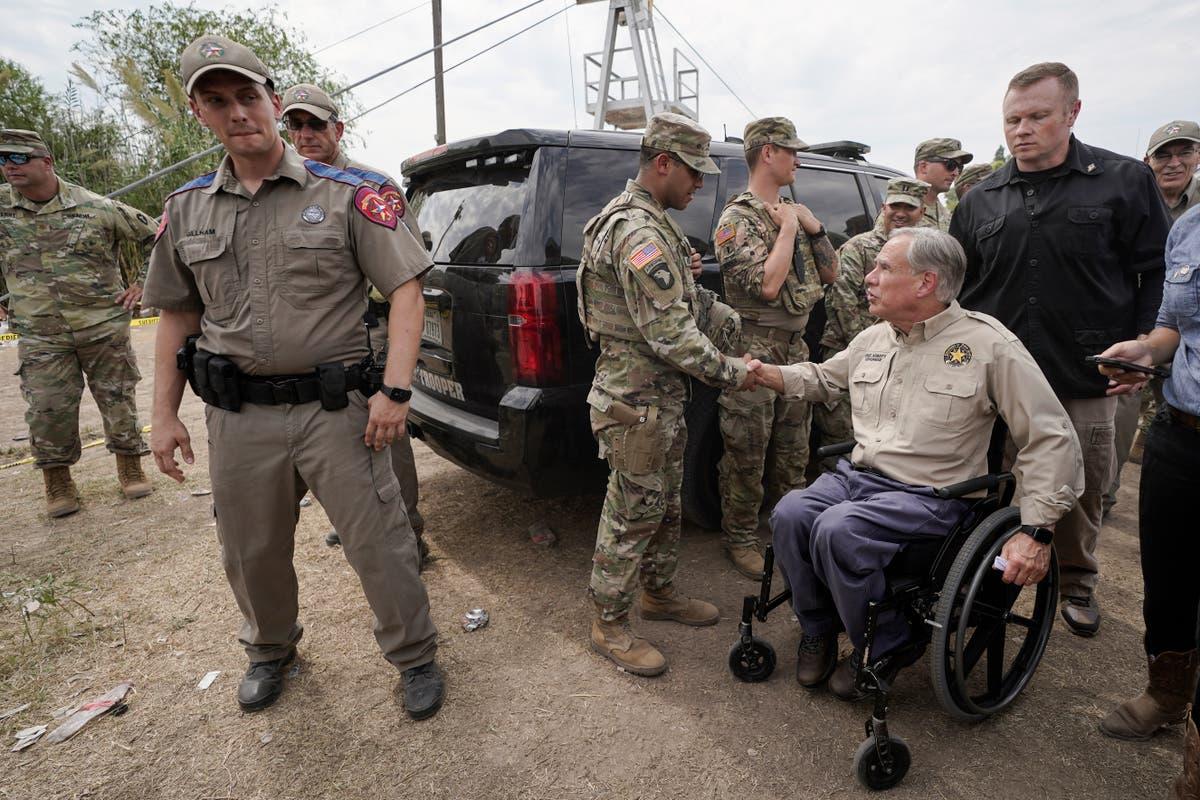 Texas Governor Greg Abbott builds makeshift border wall to block Haitian migrants