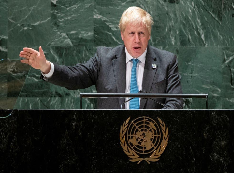 """<p>Boris Johnson a déclaré aux dirigeants mondiaux à l'ONU qu'il était temps que l'humanitp� """"grandisse"""" </p>"""