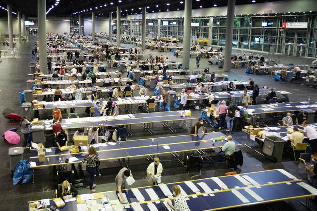 Absentee ballots for the German general election are counted at the Frankfurt Messe hall Frankfurt am Main