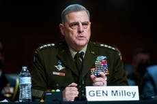 Milley defends calls to Chinese at end of Trump presidency