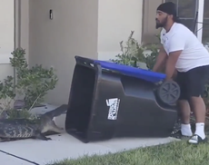 Florida man 'wins the internet' after trapping alligator in trash bin