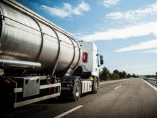 Motorists following tanker discover it is delivering mortar not petrol