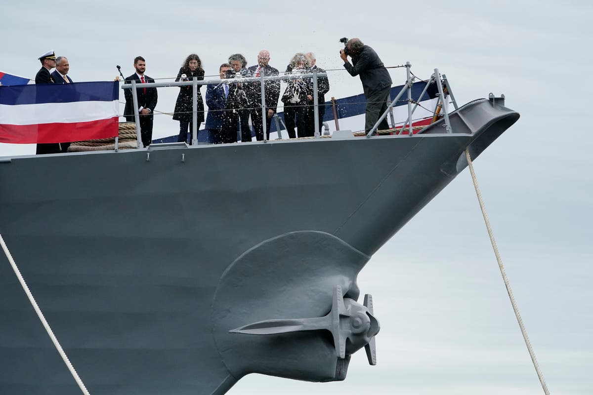 Daughters of Carl Levin christen US warship bearing his name