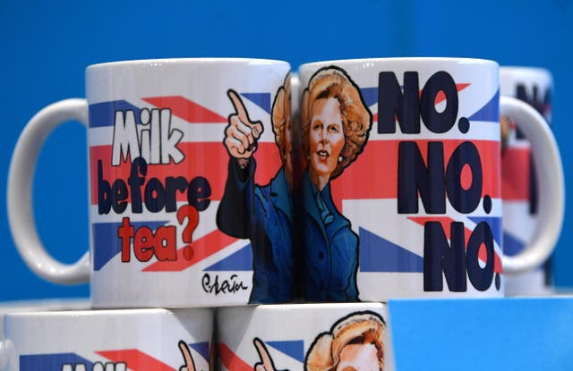 Margaret Thatcher-themed mugs for sale at the annual Conservative Party conference in Manchester