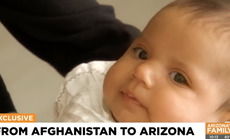 Afghan baby passed to US Marine at Kabul airport now living with family in Arizona
