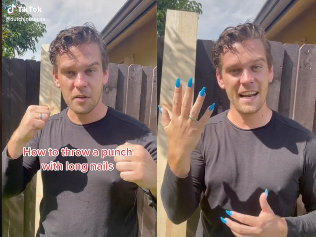 Former royal marine demonstrates how to throw a punch with acrylic nails on
