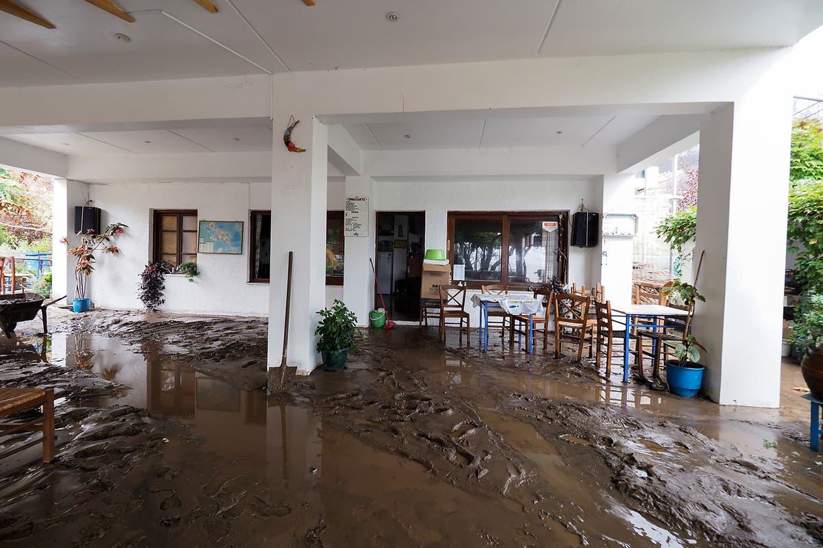 Fire-ravaged Greek island of Evia hit by floods, mudslides