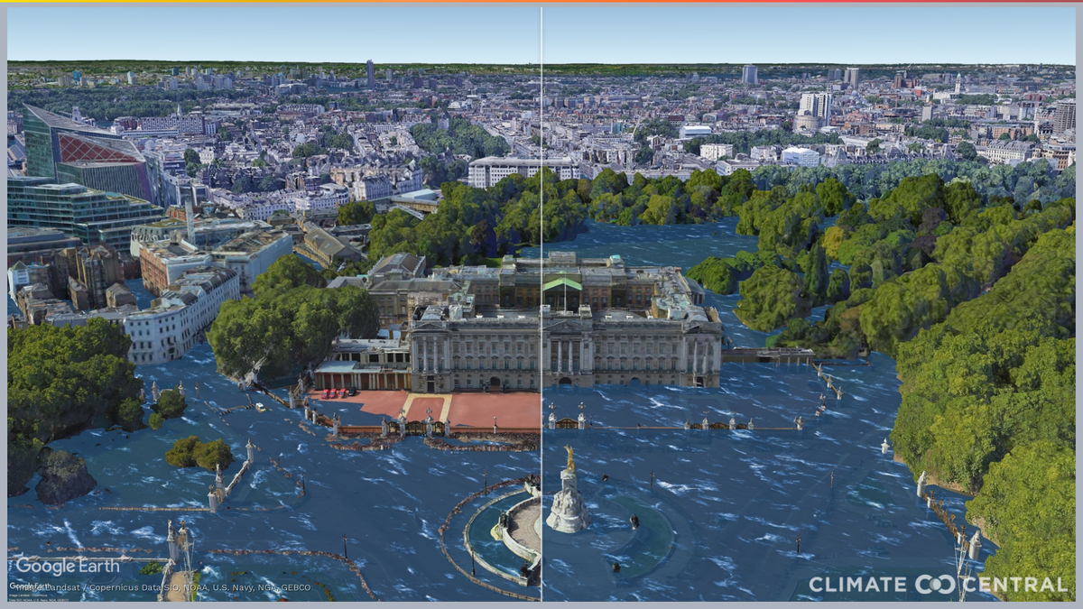 Buckingham Palace among landmarks at risk of flooding from sea level rise, map shows