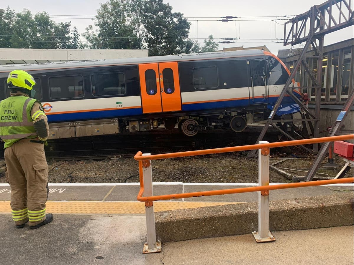 Two injured at Enfield station as rush-hour London Overground service derails