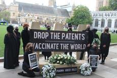 Demonstrators urge government to back vaccine patent waiver