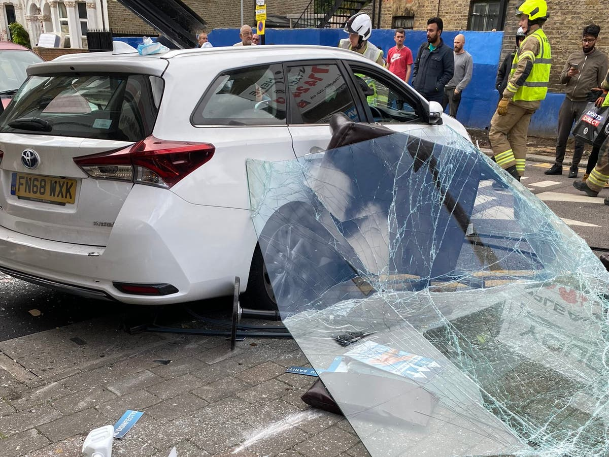 Five injured after driver crashes vehicle into building in London