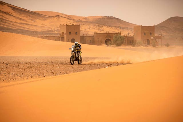 A rider competes during the Rally of Morocco 2021