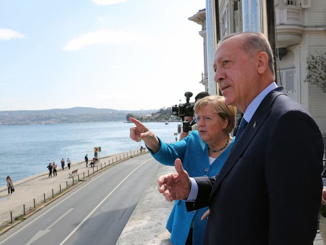 Turkish president Recep Tayyip Erdogan and outgoing German chancellor Angela Merkel on their final official meeting in Istanbul