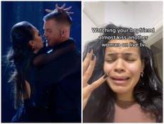 Adam Peaty's girlfriend reacts to 'almost kiss' with Katya Jones