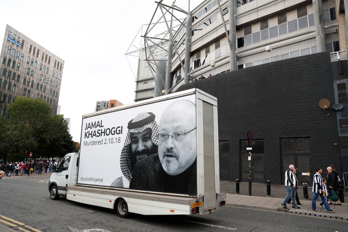 'Justice for Jamal Khashoggi' – van drives poster around Newcastle stadium