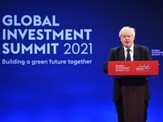 Boris Johnson asks summit to invest 'trillions' in UK's net zero plans – follow live