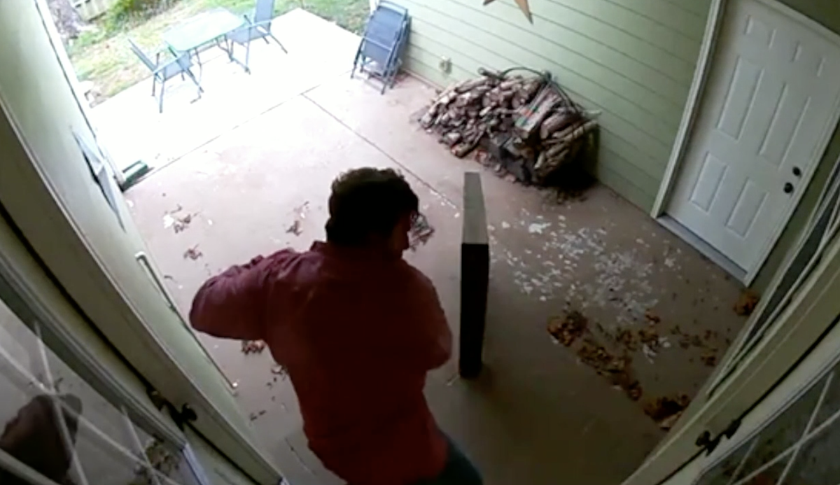 Video shows intruder breaking into house as mother and baby hid in bathroom