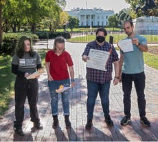 'Don't burn our future': Climate activists light diplomas on fire outside White House