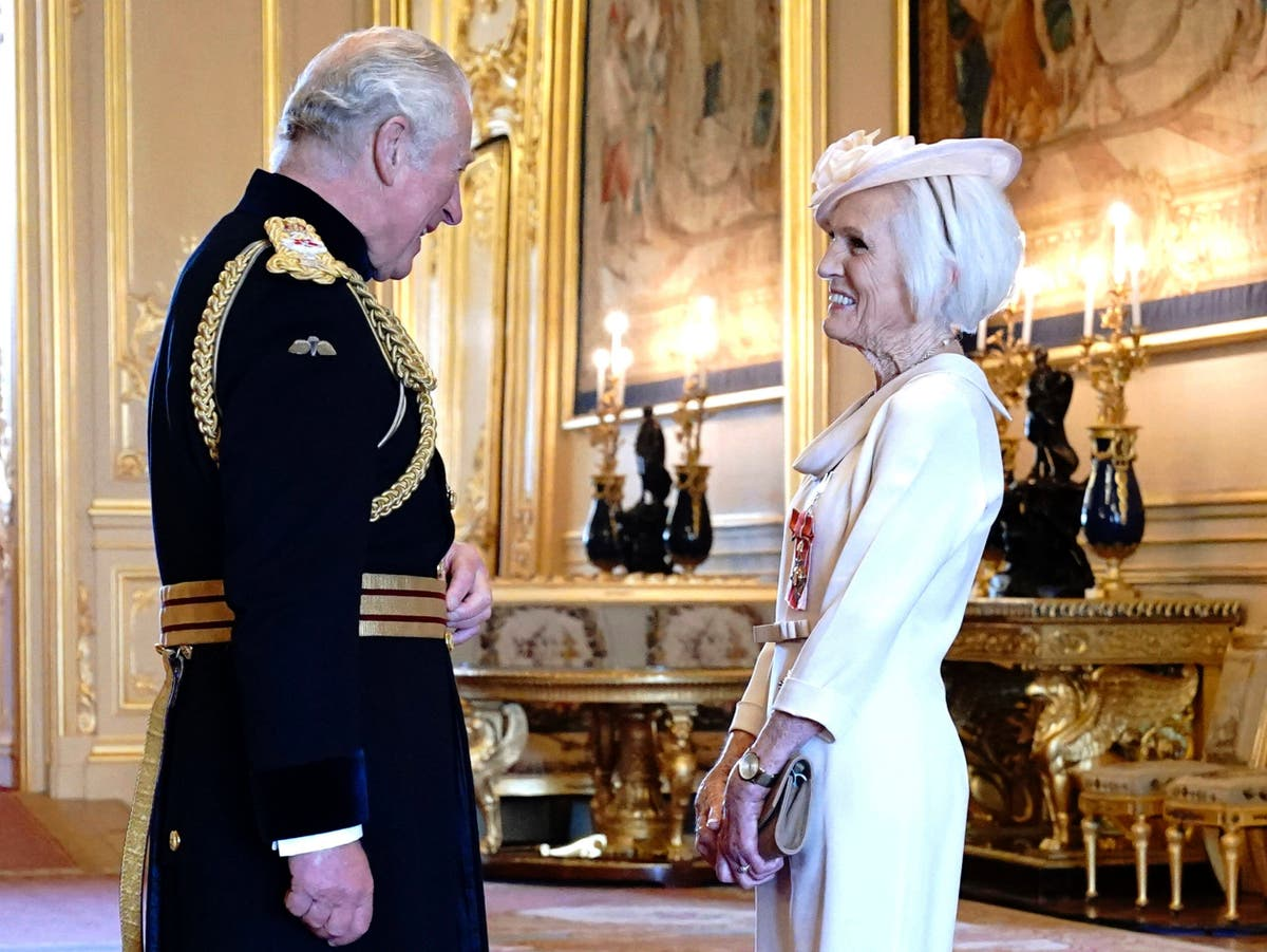 Mary Berry honoured with Dame Commander title for cooking and charity work