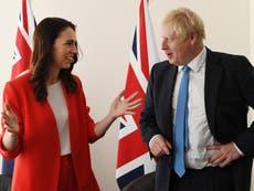 Boris Johnson secures New Zealand trade deal – follow live