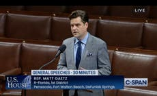 Matt Gaetz says 'I think someone may be trying to kill me' in speech on House floor