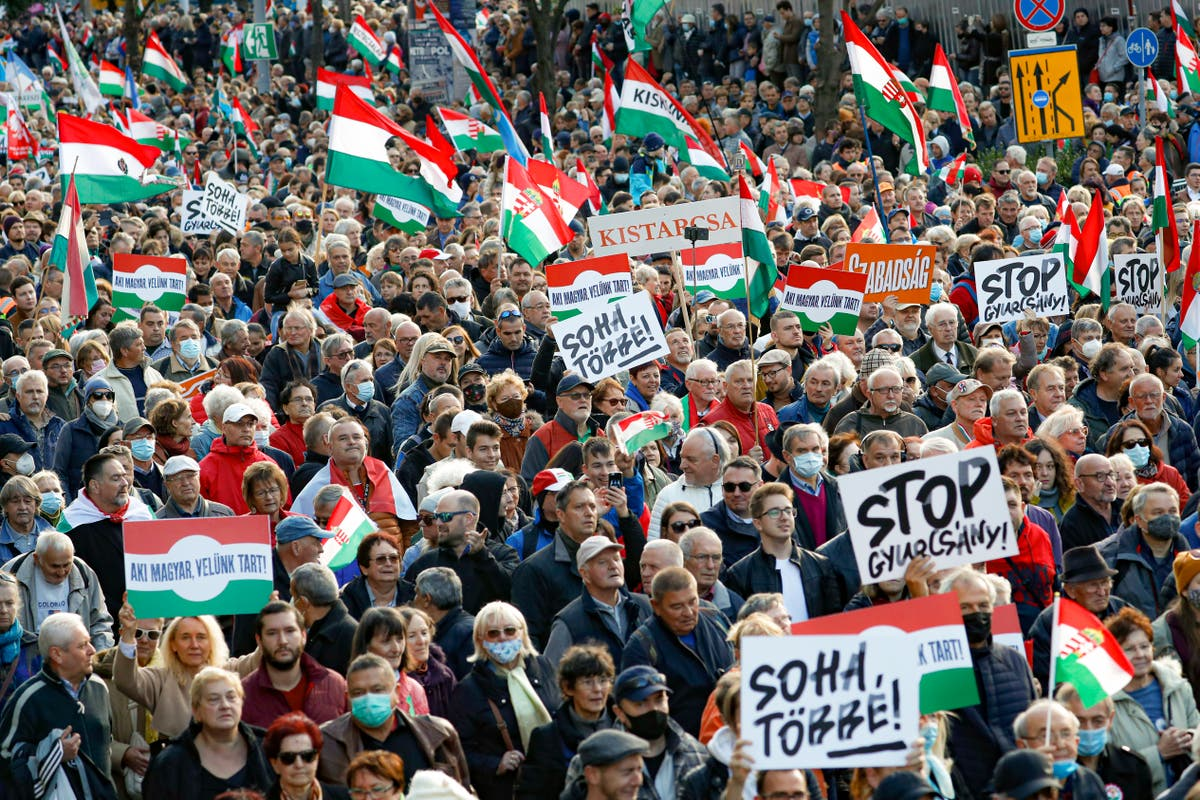 Hongrie: Thousands of Orban supporters march across Budapest