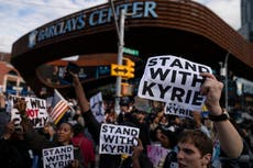 Vaccine mandate: Protest at NBA arena over Brooklyn Nets star
