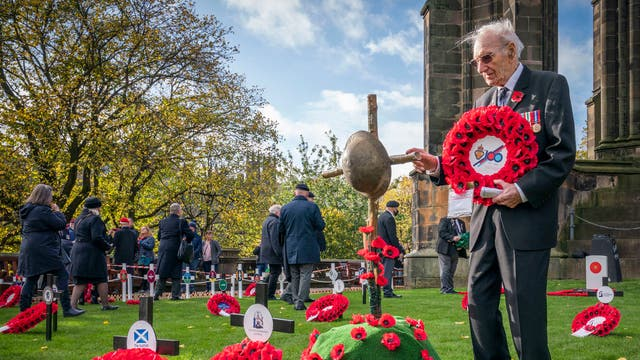 Second World War veteran James White, 96, at the opening of the Edinburgh Garden of Remembrance, marking the start of the remembrance period