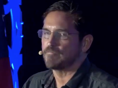 Jim Caviezel tells QAnon conference to send enemies 'back to hell where they belong'