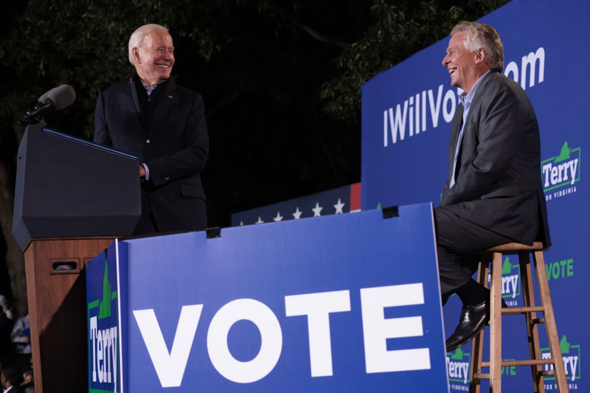 At Virginia rally, Biden battles Youngkin, Trump, and other GOP leaders
