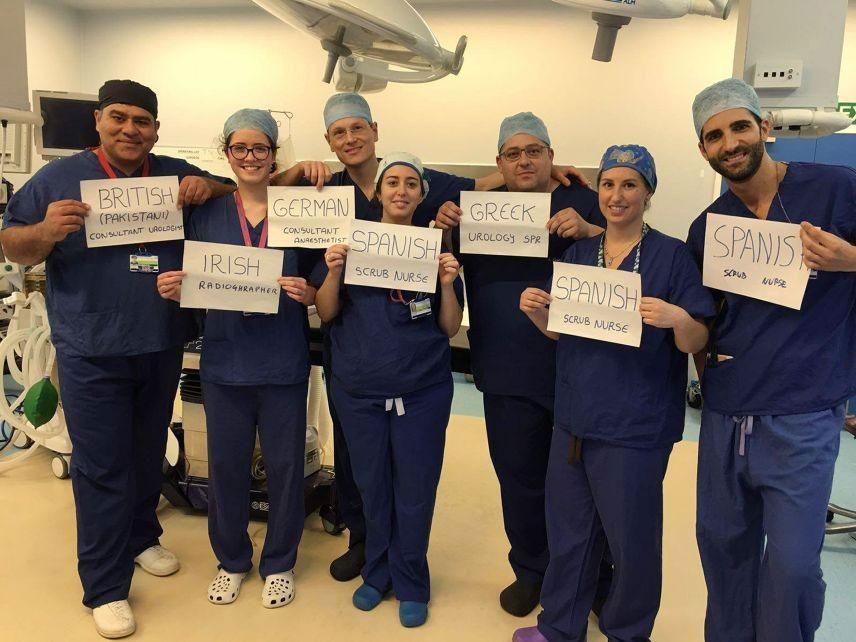 Junaid Masood, who posted the picture while working at Homerton University Hospital in east London, said 'Immigration has been the backbone of the NHS' PA