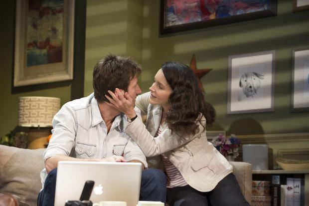 Mark Bazeley (Dan Gallagher) and Kristin Davis (Beth Gallagher)  in Fatal Attraction. Photo Credit Tristram Kenton.jpg