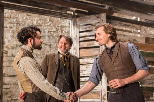 Jack McMullen (Piotr), Anthony Calf (Nikolai) and Seth Numrich (Bazarov) in Fathers and Sons. Photo by Johan Persson..jpg