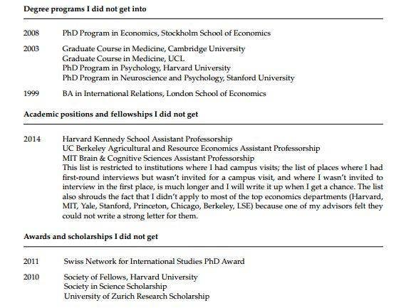 A Princeton psychology professor has posted his CV of ...