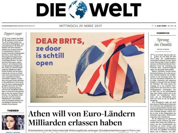 Write my german newspaper die welt in english